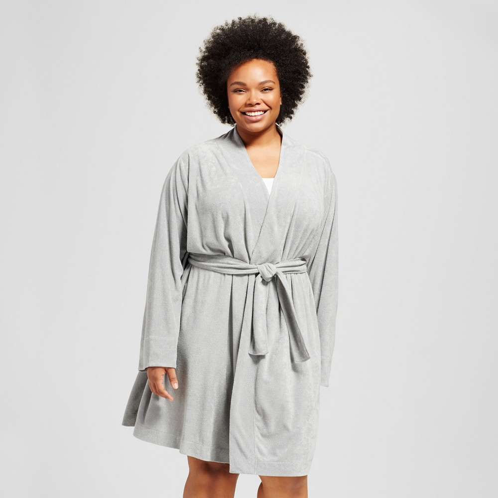 Womens Plus Size Nite Nite By Munki Munki Loop Terry Robe With Jersey Trim - Solid Color/Gray 3X