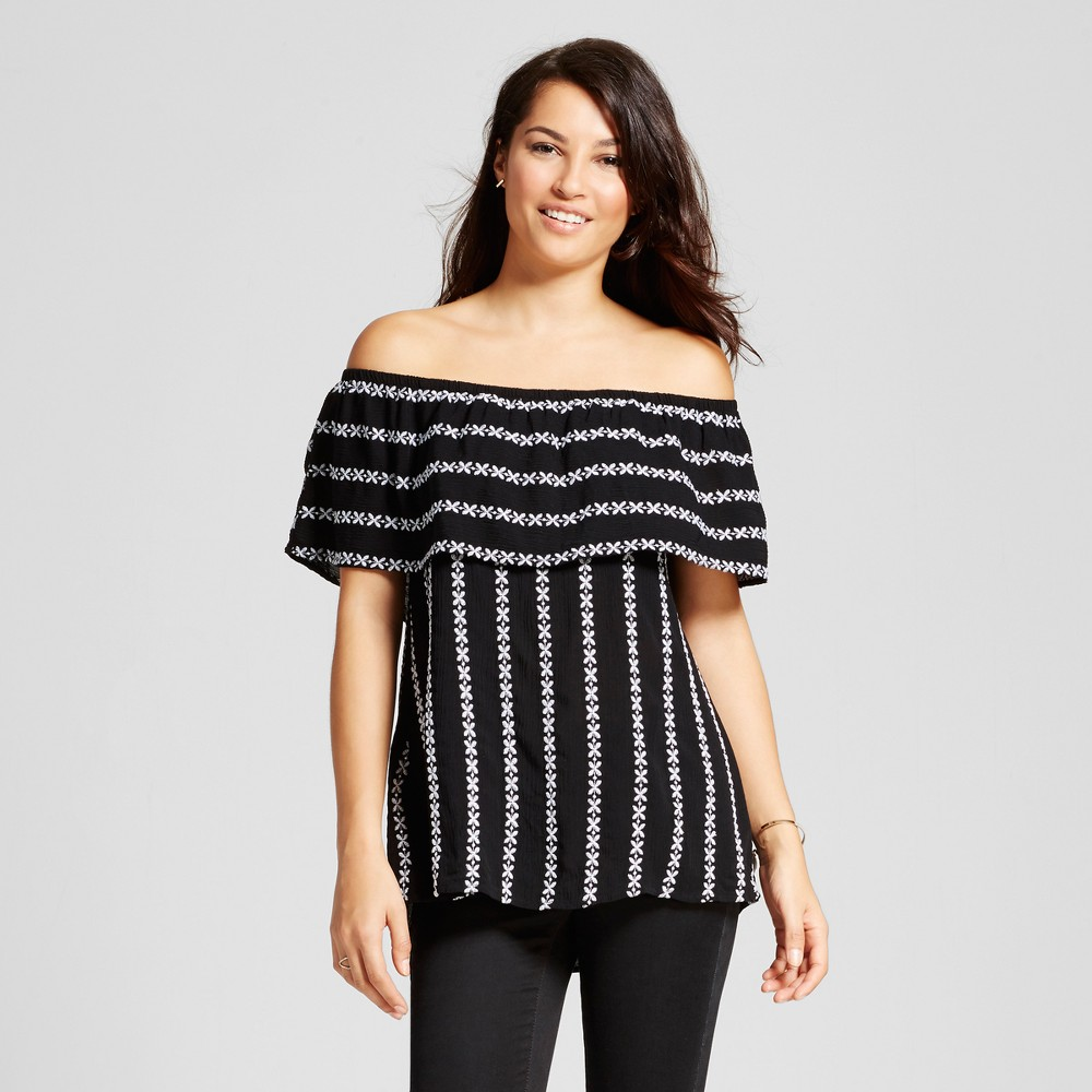 Womens Embroidered Stripe Off the Shoulder Top - Knox Rose Black and White L