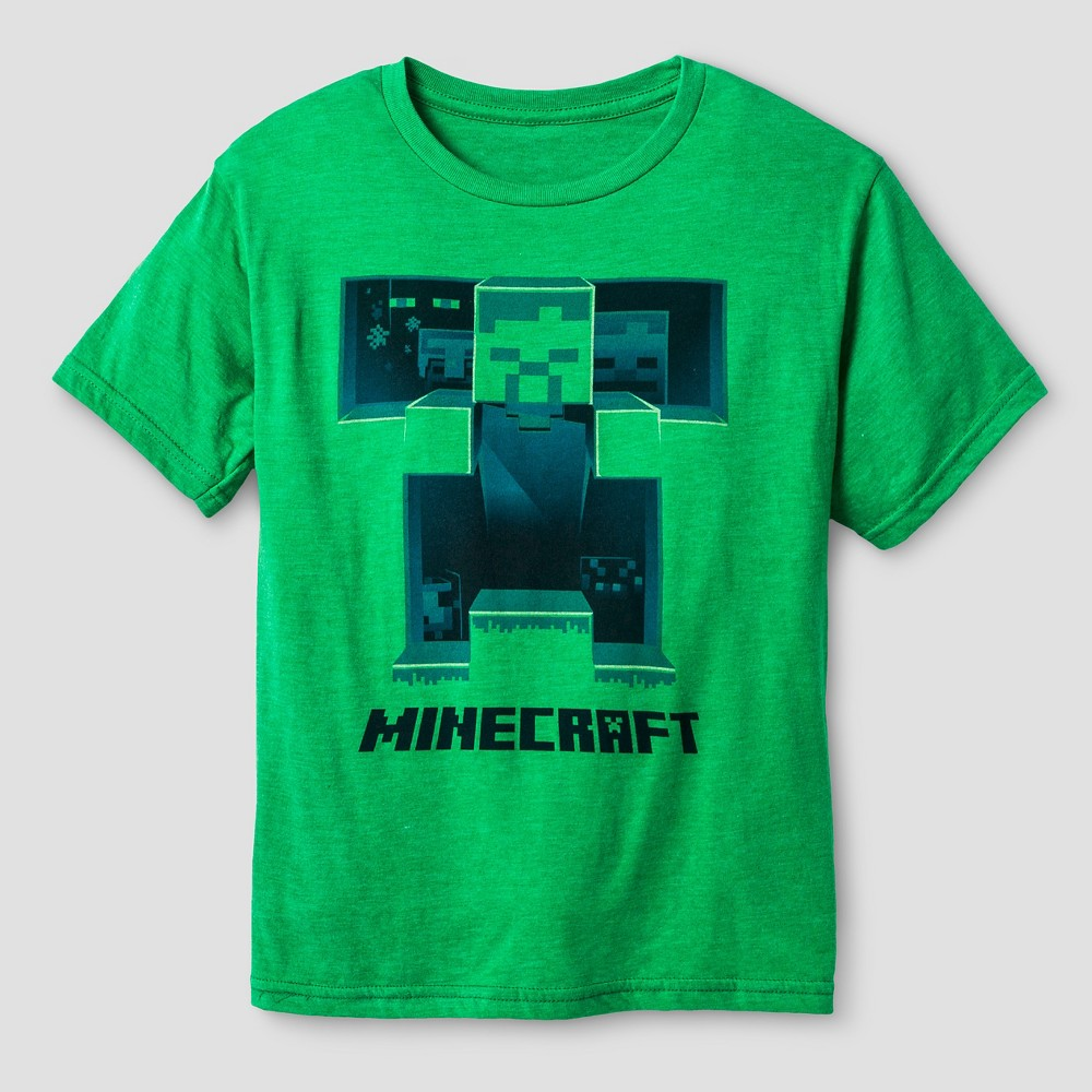 Boys' Minecraft T-Shirt Kelly Heather XL, Men's, Size: XS, Green