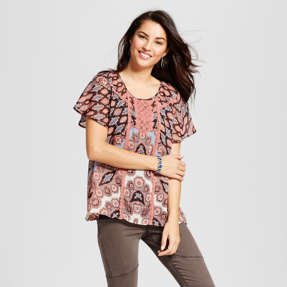 Womens Printed Flutter Sleeve Top with Cami - Knox Rose Terracotta L, Brown
