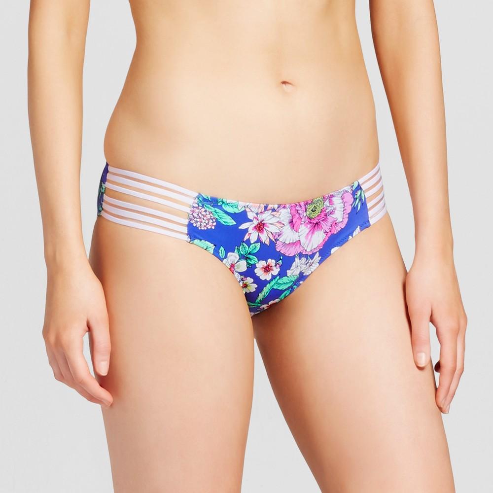 Womens Sun Coast Strappy Cheeky Bikini Bottom - Shade & Shore Blue Floral XS