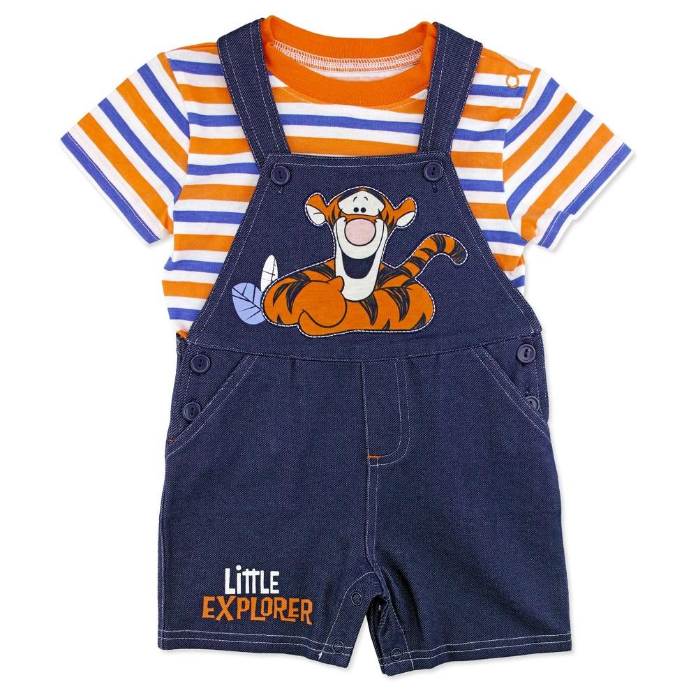 Winnie The Pooh Baby Boys Tigger Shortall & Shirt Set - Blue 0-3M, Size: 0-3 M