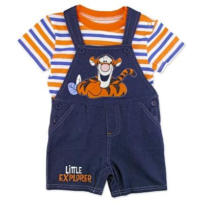 Winnie The Pooh Baby Boys' Tigger Shortall & Shirt Set - Blue 6-9M