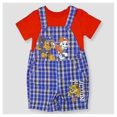 PAW Patrol Baby Boys' Shortall & Shirt Set - Blue 3-6M