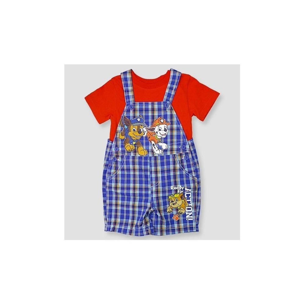 Paw Patrol Baby Boys Shortall & Shirt Set - Blue 3-6M, Size: 3-6 M