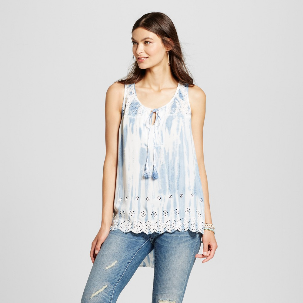 Women's Tie Dye Tank with Eyelet Yoke and Back - Knox Rose Blue Tie Dye XS