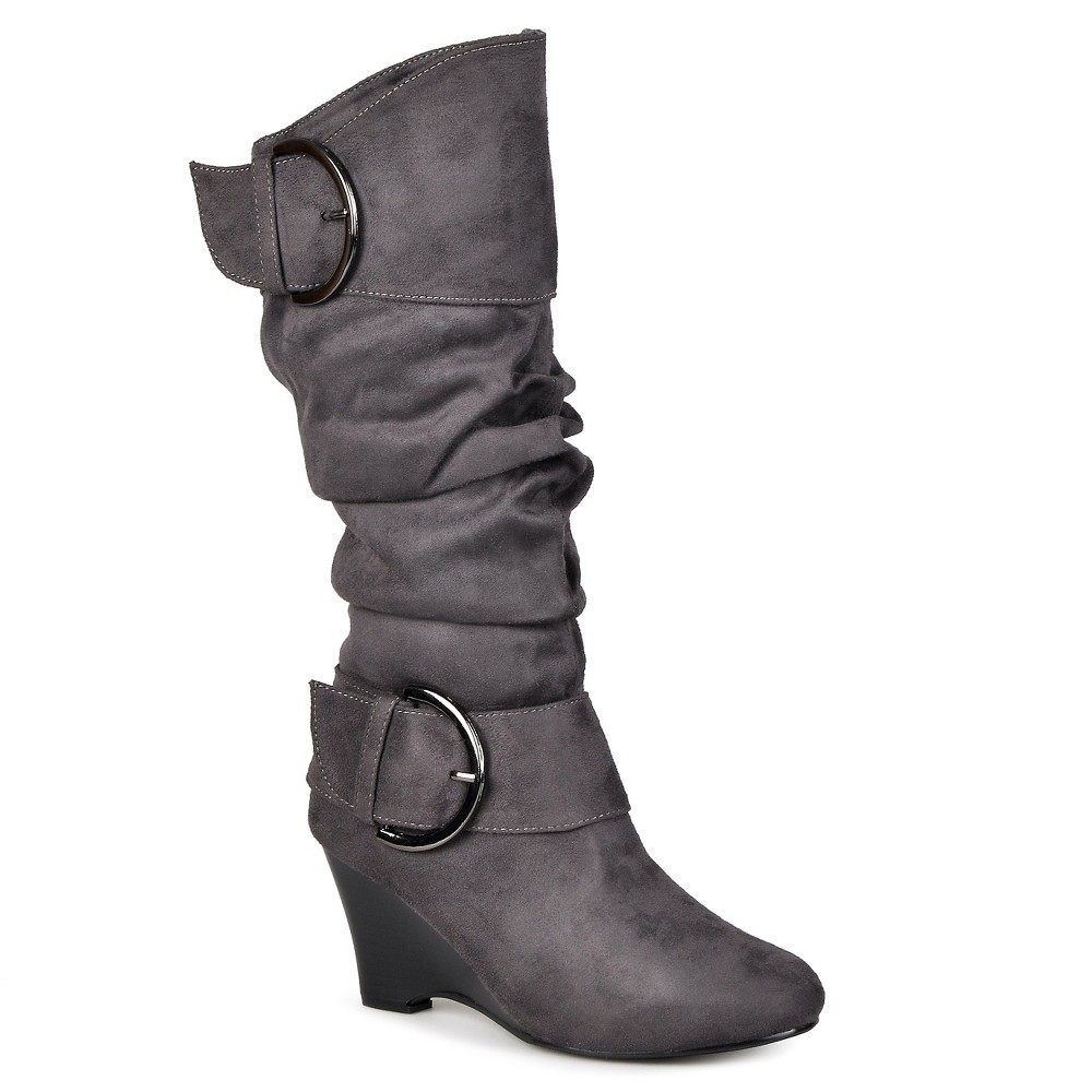 Womens Journee Collection Extra Wide Calf Buckle Slouch Wedge Knee-High Boots - Gray 10 Extra Wide Calf
