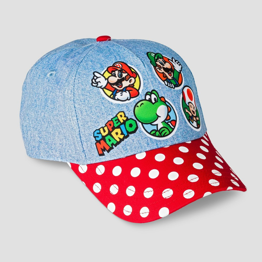 Super Mario Bros. Girls Baseball Hat Chambray and Polka Dot Groupshot Cap - One Size, Multi-Colored