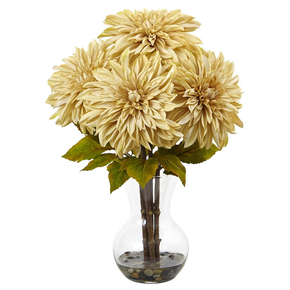 Dahlia Silk Arrangement with Glass Vase - Nearly Natural,...