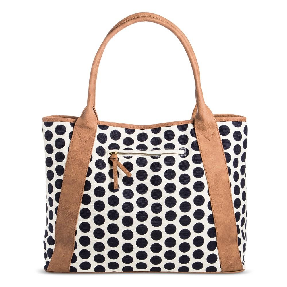 Womens Canvas Tote Handbag - Merona Navy Dot