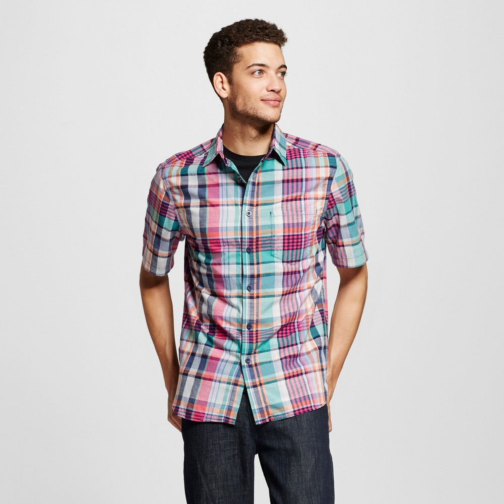 Mens Short Sleeve Button Down Shirt - Mossimo Supply Co. Multi Color Madras Plaid M