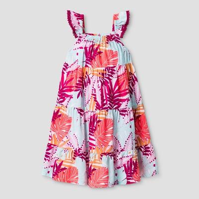 Toddler Girls' Challis Tiered A Line Dress Cat & Jack™ - White 12M