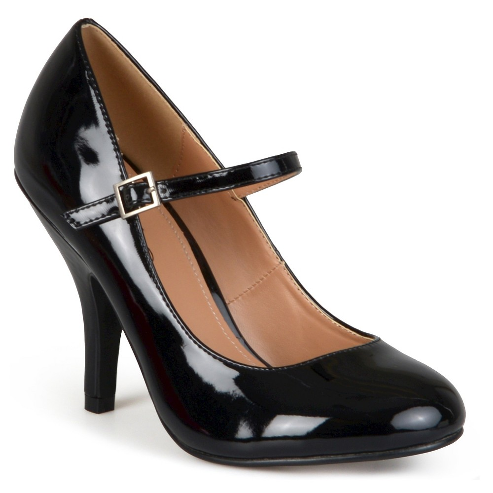Womens Journee Collection Wide Width Patent Finish Mary Jane Pumps - Black 7W, Size: 7 Wide