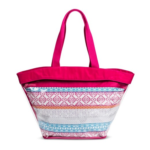 Women's Mossimo Supply Co Pink Jelly Beach Tote with Nylon Pouch ...