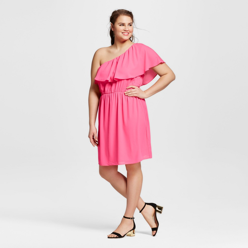 Women's Plus Size One Shoulder Dress Pink 2X -Le Kate, Neon Pink