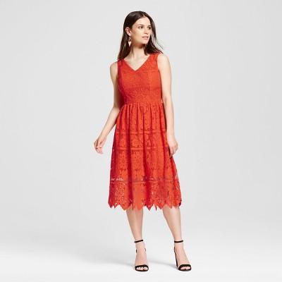 39083a447b8 Womens Floral Sleeveless Lace Dress – Mossimo™ Orange XS – Target ...