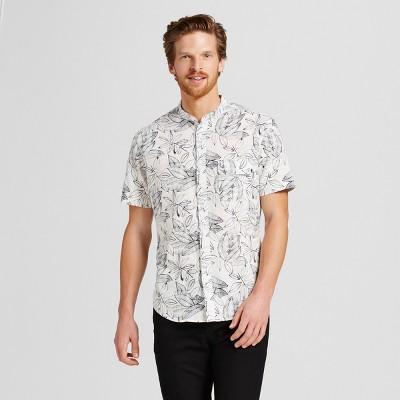 Men's Short Sleeve Collarless Button Down Shirt Floral Printed M - Merona™ Cream M
