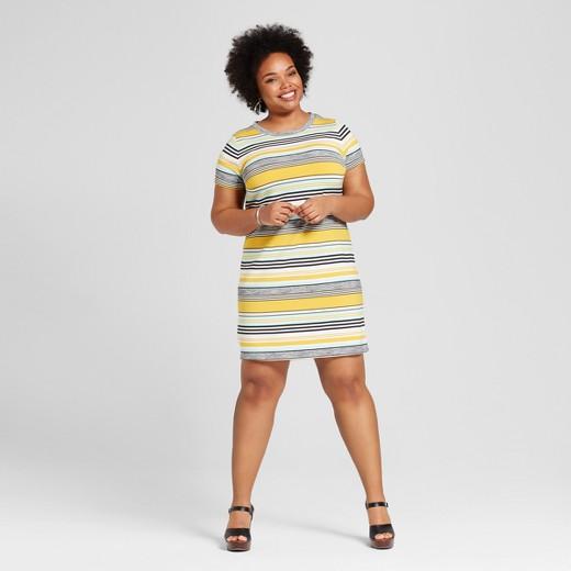 Women's Plus Size T-Shirt Dress Yellow Stripe - Ava & Viv™ : Target