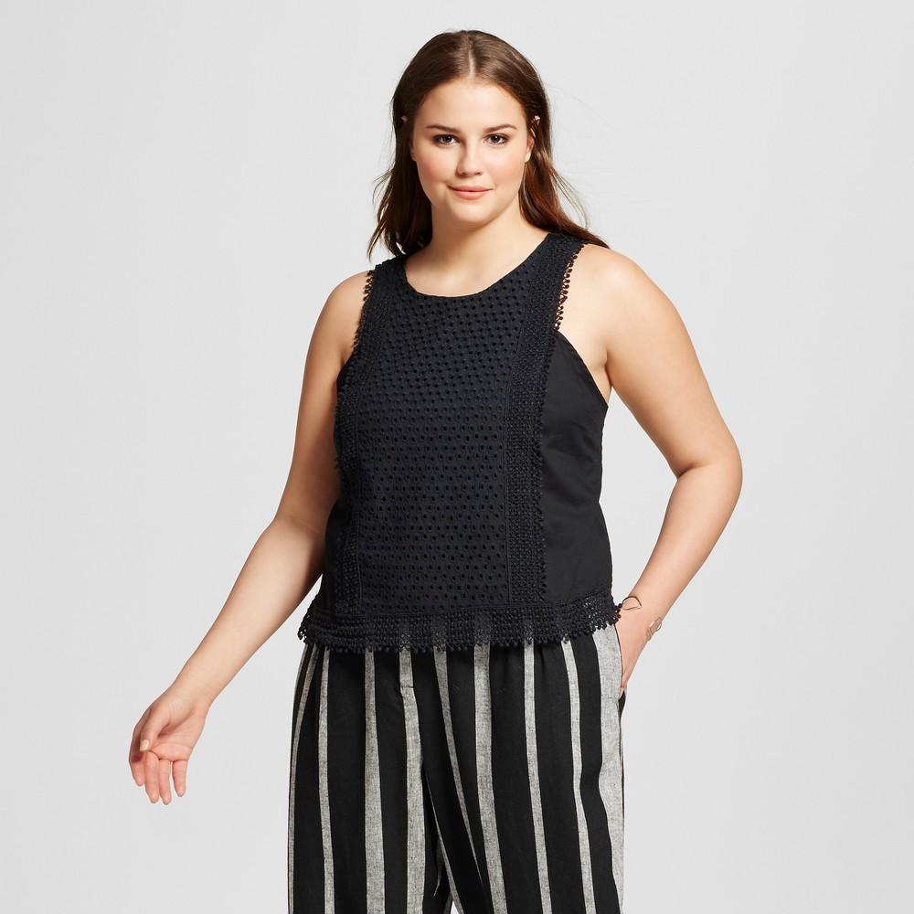 Womens Plus Size Festival Shell - Who What Wear Black 2X
