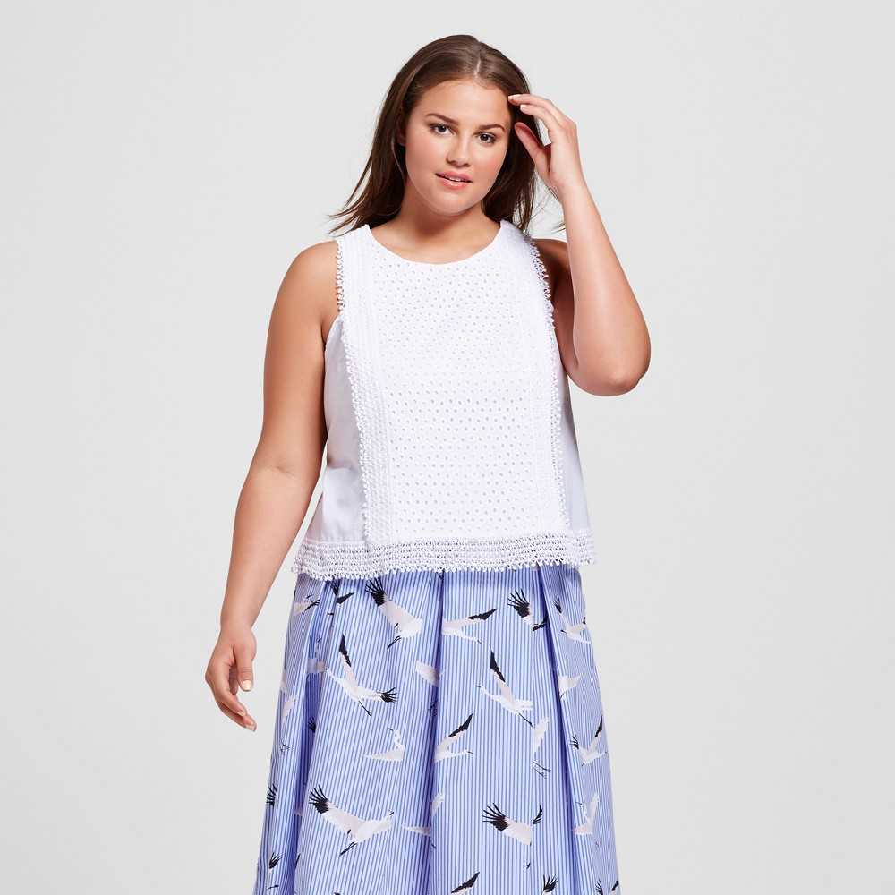 Womens Plus Size Festival Shell - Who What Wear White X