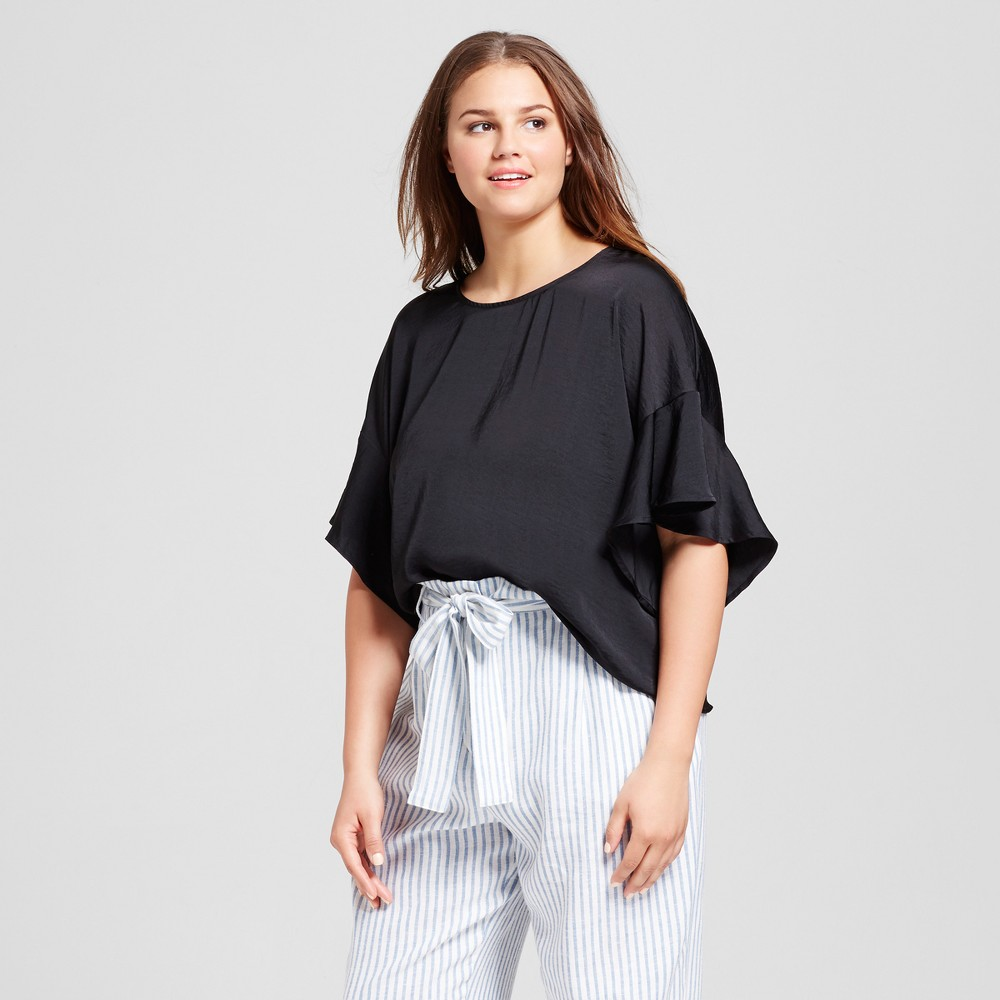 Women's Plus Size Ruffle 3/4 Sleeve Top - Who What Wear Black X