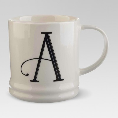 Monogrammed Porcelain Mug 15oz White with Black Letter A - Threshold™