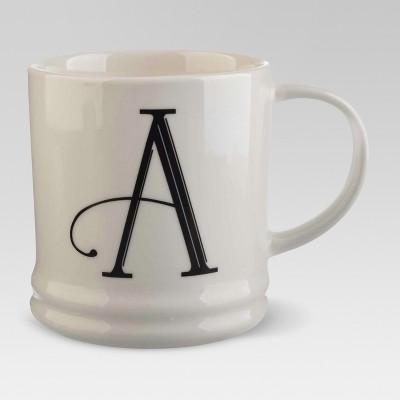 Monogrammed Porcelain Mug 15oz White with Black Letter A - Threshold™