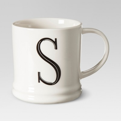 Monogrammed Porcelain Mug 15oz White with Black Letter S - Threshold™