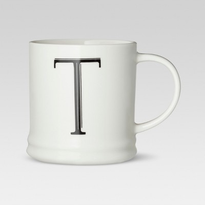 Monogrammed Porcelain Mug 15oz White with Black Letter T - Threshold™