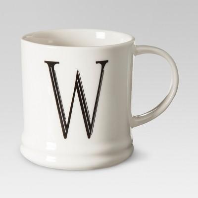 Monogrammed Porcelain Mug 15oz White with Black Letter W - Threshold™