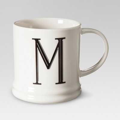 Monogrammed Porcelain Mug 15oz White with Black Letter M - Threshold™