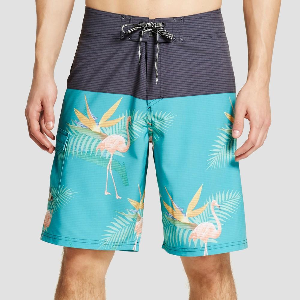 Mens Flamingo Colorblock Board Shorts Green 30 - Ocean Current