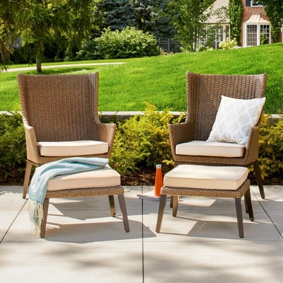 Ennismore 4 Piece Wicker Patio Conversation Seating Set   Threshold™