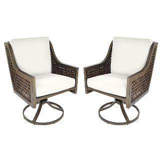 Fabron 2pk Wicker Swivel Rocker Dining Chair