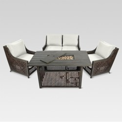 Fabron 4-Piece Wicker Patio Fire Chat Set - Threshold™