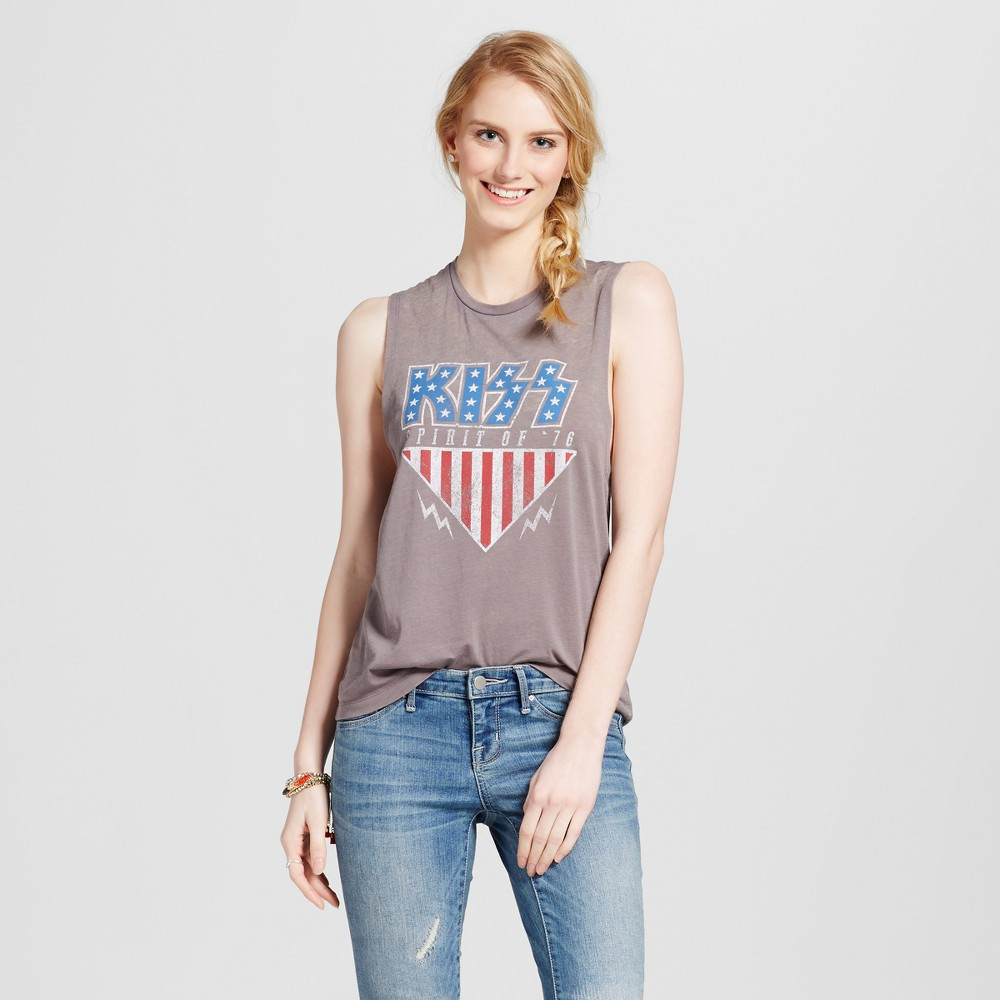 Womens Kiss Graphic Tank Charcoal Gray L - Fifth Sun (Juniors)