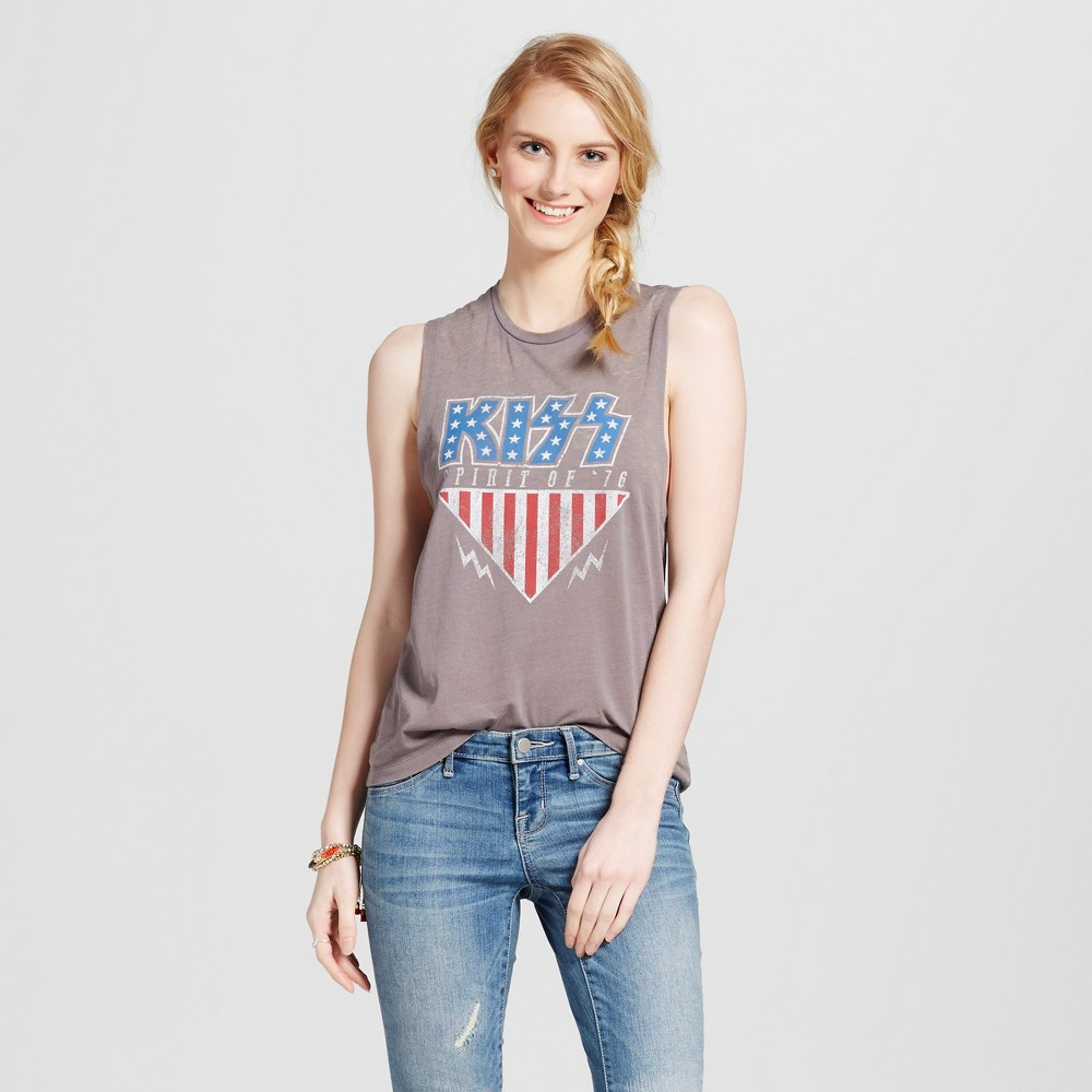 Womens Kiss Graphic Tank Charcoal Gray S - Fifth Sun (Juniors)