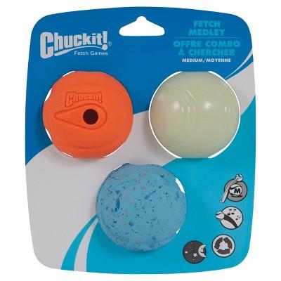 Chuckit! 3pk Fetch Ball Glow Pet Toy - Blue/Orange/White - M