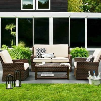 Halsted 4 Piece Wicker Patio Furniture Set   Threshold™