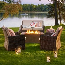 Halsted 4-Piece Wicker Patio Fire Chat Set - Threshold™