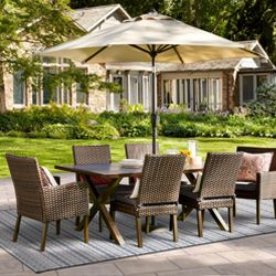 Halsted 7 Piece Wicker Patio Dining Set Threshold 153