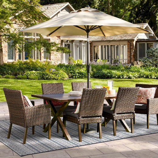 Halsted 7pc Rectangle Wicker Patio Dining Set Tan