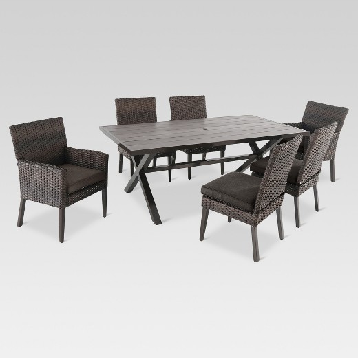Halsted 7 Piece Wicker Patio Dining Set Threshold Target