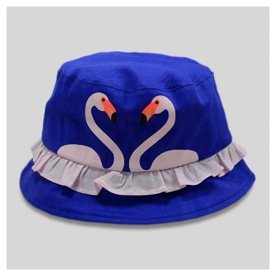 Baby Girls' Ruffle Bird Print Bucket Hat - Cat & Jack™ Blue 12-24M