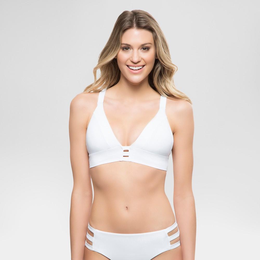Womens Strappy Bralette Bikini Swim Top - White - M - Sunn Lab Swim