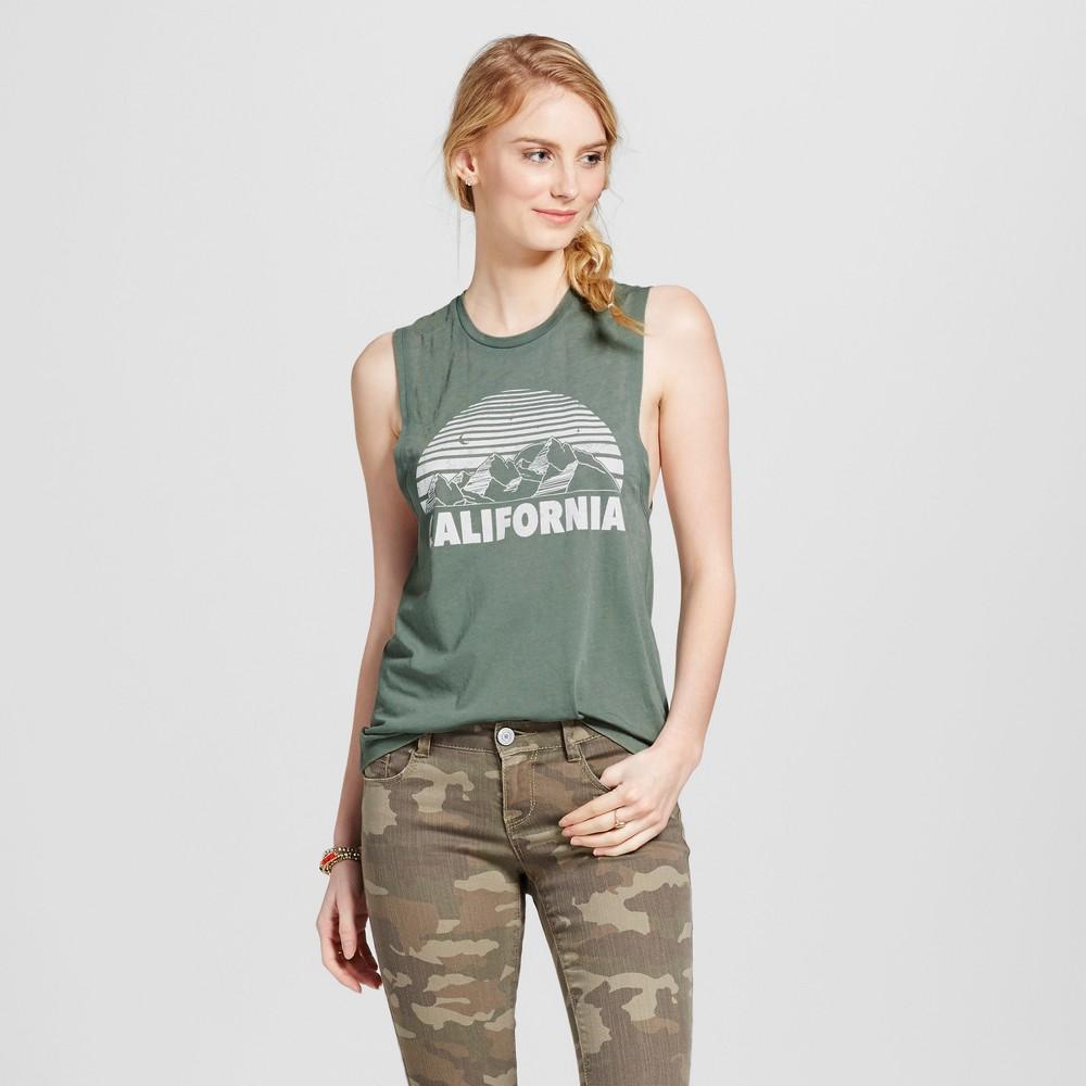 Womens California Mountains Graphic Tank Green XS - Fifth Sun (Juniors)