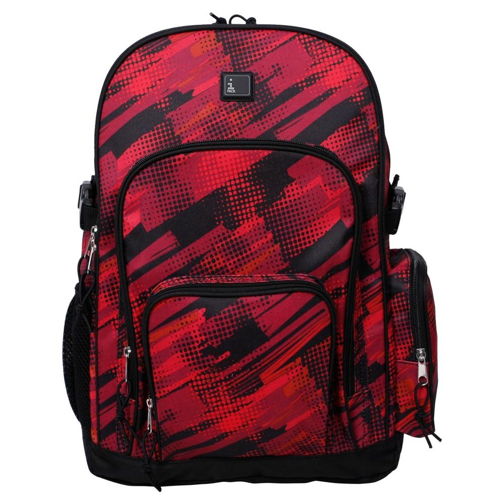 iPack 17.5 Kids Backpack - Swish Geo, Red/Black