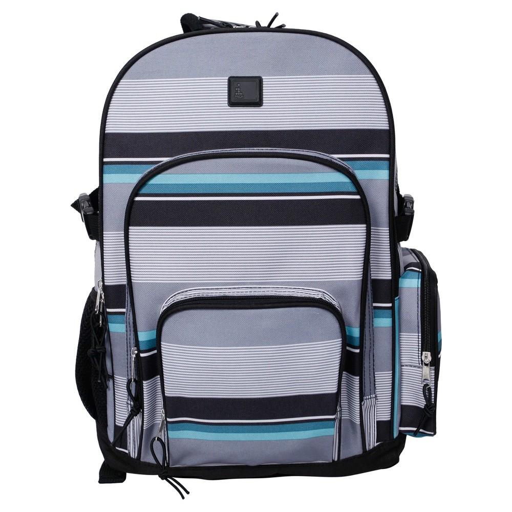 iPack 17.5 Kids Backpack - Stripe, Gray/Blue