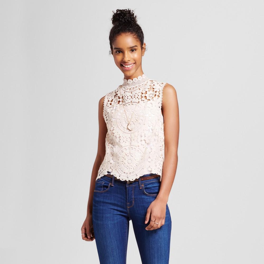 Women's Mock Neck Crochet Lace Crop Top Honey M – Miss Chievous (Juniors')