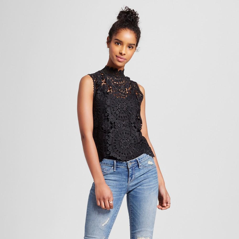 Women's Mock Neck Crochet Lace Crop Top Black M – Miss Chievous (Juniors')